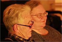Author Robert (Bob) Byrne and Suzanne Wright, watching a dress rehersal of his play, Behold My Shorts.