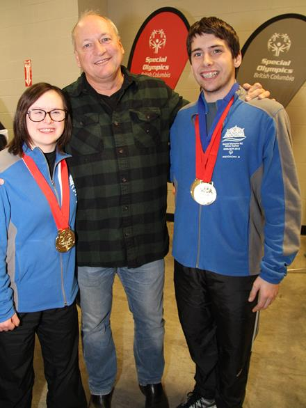 Jacques Thibault (centre) with SOBC athletes Paige and Matthew