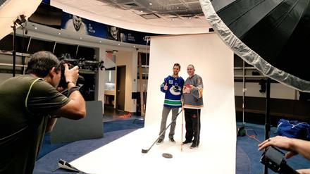 SOBC – Victoria athlete Michael Langridge and Vancouver Canucks forward Brandon Sutter at SCF photo shoot