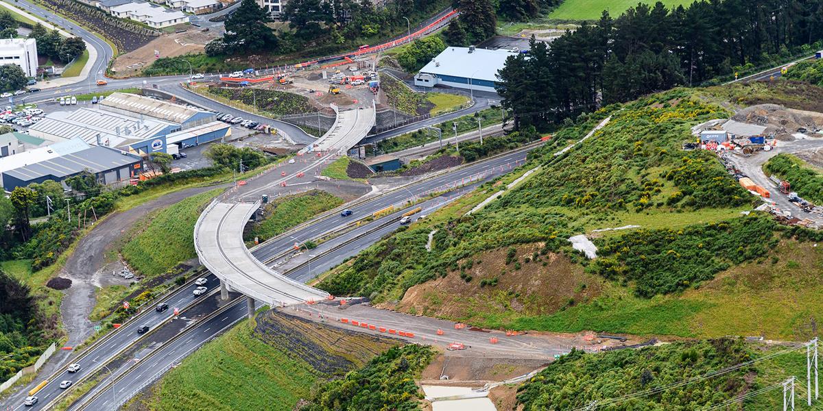 Overlooking the interchange under construction.