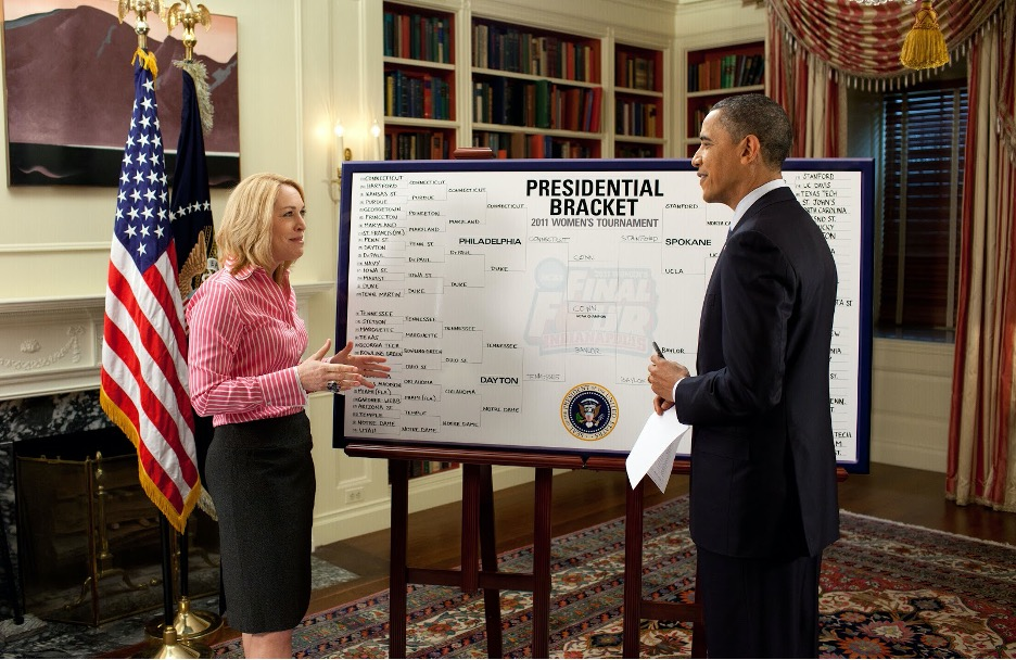 President Barack Obama creating his March Madness bracket in the White House