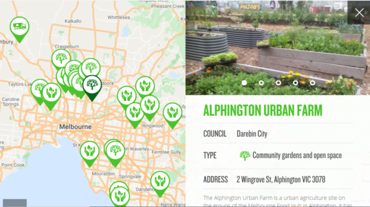 a screenshot of the Compost in Action map showing a pop up about the Alphington Urban Farm.
