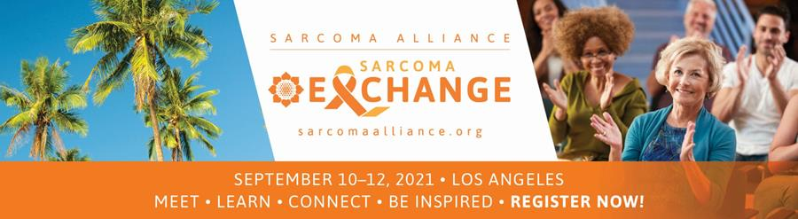 This image features palm trees, a clapping crowd, and text introducing the Sarcoma Exchange